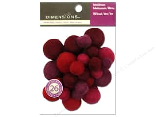 Beads Felting: Dimensions 100% Wool Felt Embellishment Ball Assorted Garnet