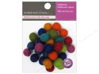 Felt Shapes: Dimensions 100% Wool Felt Embellishment Ball 1cm Astd