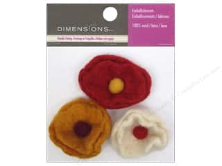 Beads Felting: Dimensions 100% Wool Felt Embellishment Small Cup Flowers