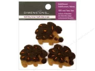 Felting Brown: Dimensions 100% Wool Felt Embellishment Hedgehogs