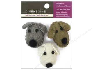 Wool Brown: Dimensions 100% Wool Felt Embellishment Dog Heads