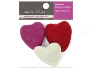 Molds Hearts: Dimensions 100% Wool Felt Embellishment Molded Hearts