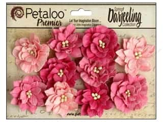 Cabbage Rose Fabric Flowers: Petaloo Darjeeling Dahlias Teastain Pink