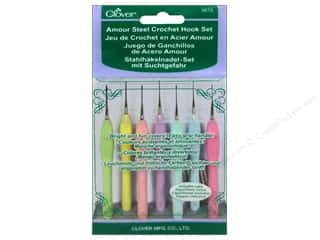 Handles Yarn & Needlework: Clover Amour Steel Crochet Hook Set 7 pc.