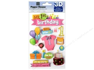 Paper House $1 - $2: Paper House Sticker 3D 1st Birthday Girl