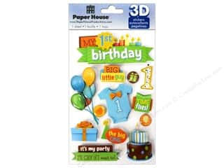 Rhinestones Birthdays: Paper House Sticker 3D 1st Birthday Boy