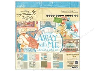 "Weekly Specials Papers: Graphic 45 Paper Pad Come Away With Me 8""x 8"""