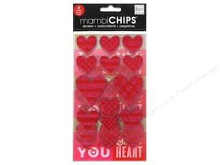MAMBI Sticker Chipboard Love Hearts Pink & Red