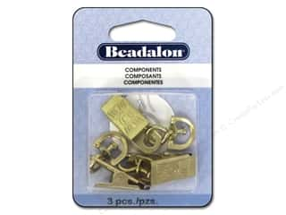 Findings Miscellaneous Findings: Beadalon Badge Clips with Swivel 3 pc. Gold