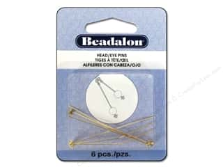 Beadalon Head Pins Ball & Star 2 in. Gold Color 6 pc.