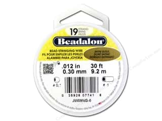 Wire Beadalon Bead Wire: Beadalon Bead Wire 19 Strand .012 in. Satin Gold 30 ft.