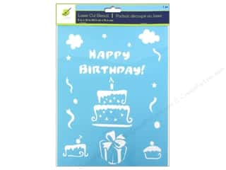 "Yarn Captions: Multicraft Craft Decor Stencil Laser 8""x 10"" Happy Birthday"