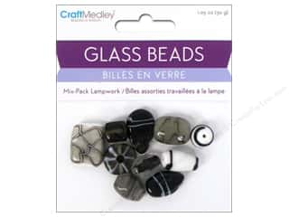 Beads Black: Multicraft Beads Glass Lampwork Black & White 1.05oz