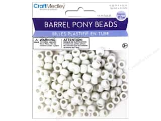 pony bead: Multicraft Beads Barrel Pony White 1.5oz