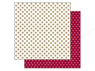 Holiday Sale Printed Cardstock: Echo Park 12 x 12 in. Paper Home For The Holidays Collection Gold Tinsel Dots (25 sheets)