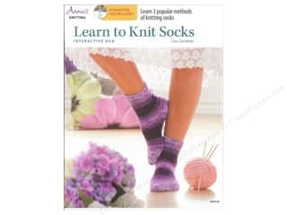 Yarn, Knitting, Crochet & Plastic Canvas Annie's Attic: Annie's Learn to Knit Socks Book with Interactive DVD by Lisa Carnahan