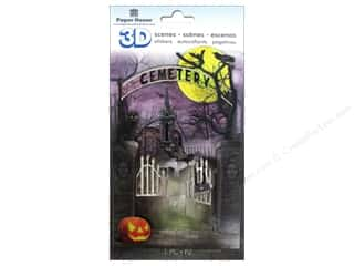 Stickers $3 - $4: Paper House Sticker 3D Cemetery Scene
