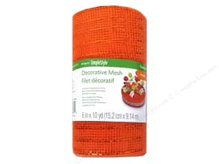 "FloraCraft Ribbon Mesh Met Orange 6""x 10yd"