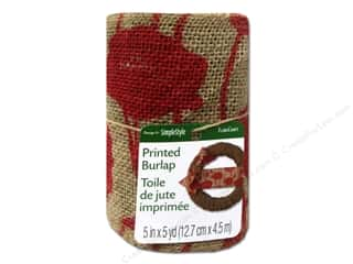 "FloraCraft Ribbon Burlap 5""x 5yd Poppy Print Red"