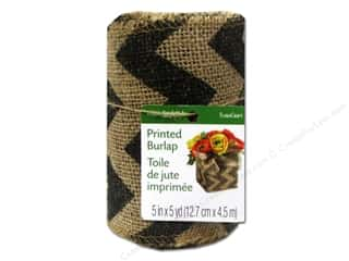 Craft & Hobbies Yard Sale: FloraCraft Burlap Ribbon 5 inch x 5 yard Chevron Black