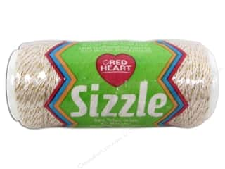 Clearance Aunt Lydia's Fashion Crochet Thread Metallics Size 5: Red Heart Sizzle Crochet Nylon 65 yd. Ivory/Gold