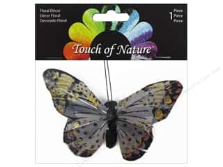 Midwest Design Imports Midwest Design Butterfly: Midwest Design Butterfly 4'' Feather with Clip Grey 1pc