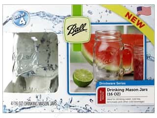 Glass Jars / Plastic Jars Scrapbooking & Paper Crafts: Ball Drinking Mason Jars 4 pc. 16 oz. Regular Mouth