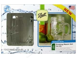 Glass Jars / Plastic Jars $3 - $6: Ball Drinking Mason Jars 4 pc. 24 oz. Wide Mouth