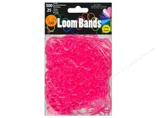 Rubber / Elastic Bands: Midwest Design Loom Band Neon Gel Rose Red 525pc