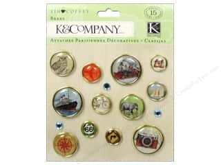 Brads Metal Embellishments: K&Company Brads Tim Coffey Travel
