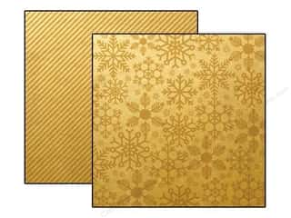 "Clearance Christmas: Simple Stories Cozy Christmas Paper 12""x 12"" Gold Flurries/Stripes (25 pieces)"