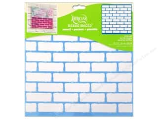 "Stenciling Craft Paint: DecoArt Stencil Americana Mixed Media 12""x 12"" Brick Wall"