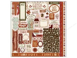 Rubber Stamping Fall / Thanksgiving: Authentique Stickers 12 x 12 in. Grateful Details (12 sets)