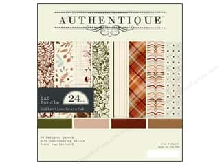 Captions Fall / Thanksgiving: Authentique 6 x 6 in. Paper Bundle Grateful 24 pc.