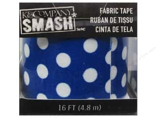 Tapes Blue: K&Company Smash Fabric Tape Dot Blue and White