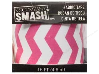 Zig Glue and Adhesives: K&Company Smash Fabric Tape Zig Zag Pink and White