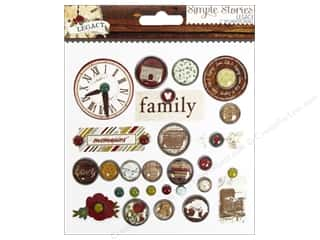 Family Clear: Simple Stories Legacy Brads Decorative