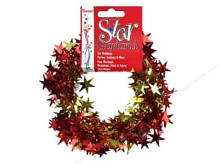 Fall / Thanksgiving Craft & Hobbies: Darice Decor Garland Star 25' Red and Gold
