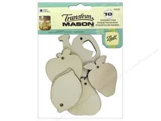 Raffia: Loew Cornell Transform Mason Wooden Tags 10 pc. Fresh Fruit
