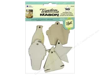 Raffia: Loew Cornell Transform Mason Wooden Tags 10 pc. Summer Holiday