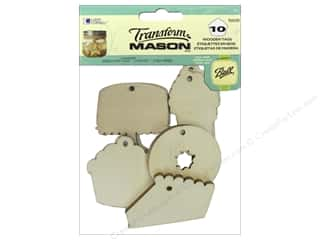 Raffia: Loew Cornell Transform Mason Wooden Tags 10 pc. Sweet Treats