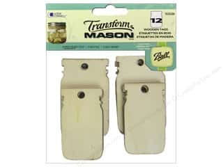 Raffia: Loew Cornell Transform Mason Wooden Tags 12 pc. Mason Jar