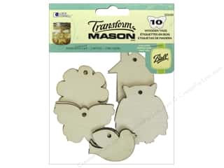Raffia: Loew Cornell Transform Mason Wooden Tags 10 pc. Home Sweet Home