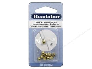 Beadalon Cap Findings/Spacer Findings: Beadalon Memory Wire End Caps 5 mm Round 10 pc. Gold Color