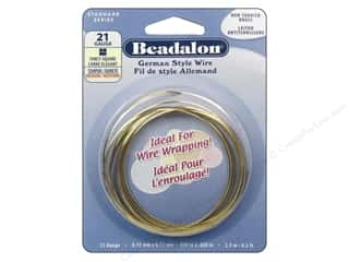 Beadalon German Style Wire 21ga Fancy Square Brass 8.2 ft.