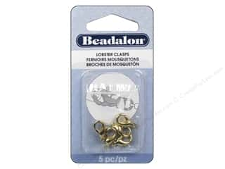 Beadalon Lobster Clasps 12.8 mm Small Gold 5 pc.
