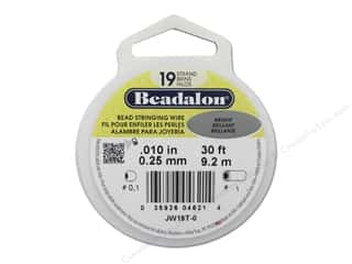 Beading & Jewelry Making Supplies Cording: Beadalon Bead Wire 19 Strand .010 in. Bright 30 ft.