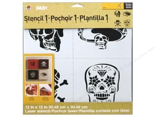 Fabric Halloween: Plaid Stencil FolkArt Designer Skull Set