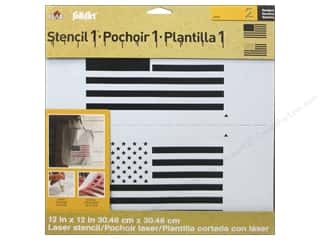 Shabby Fabrics Independence Day: Plaid Stencil FolkArt Designer Flag