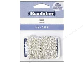 Beadalon Chains: Beadalon Chain 6 mm Heavy Curb Silver Plated 1M
